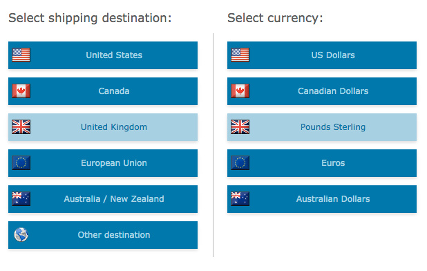 Shipping and currency selection